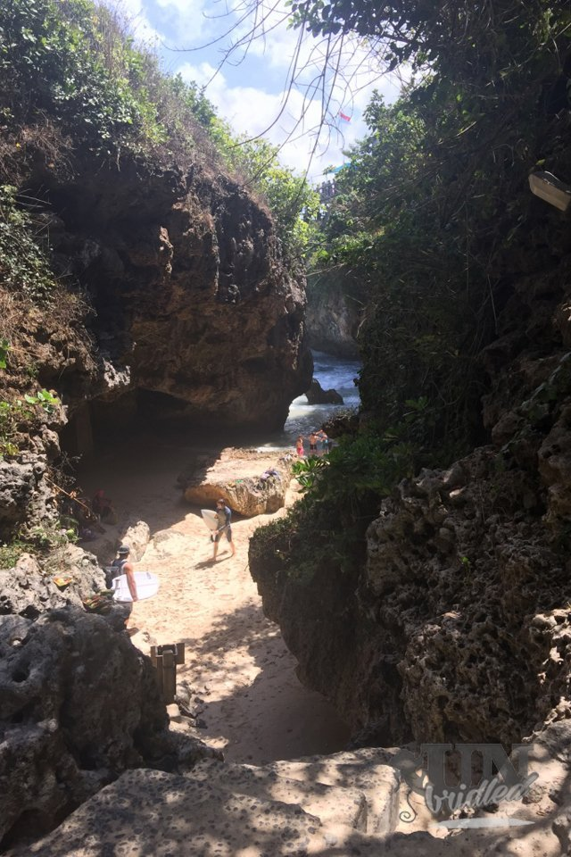 Hidden beaches in Bali: in the end of the stairs is a tiny narrow cove, which is framed by the cliffs