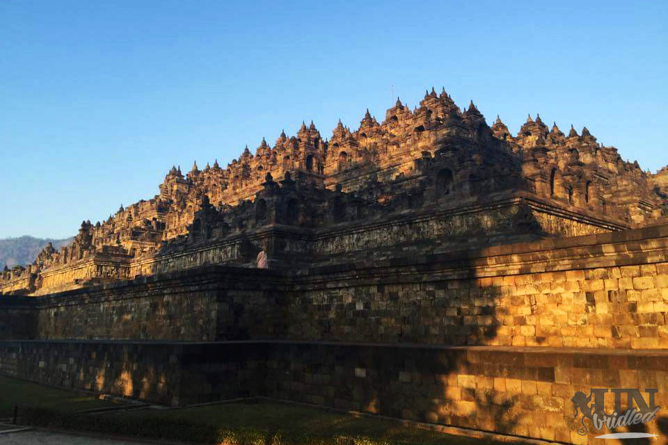 The amazing huge Borobudur temple in the morning sun