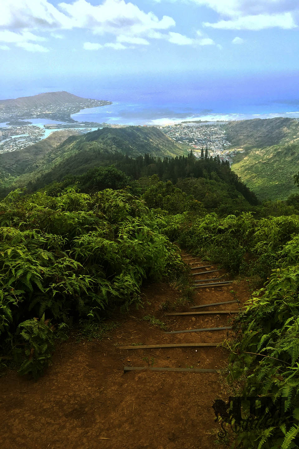 The view from the Kuliouou: Hawai'i Kai from above, with the Koko Head, blue ocean and the stairs in the foreground