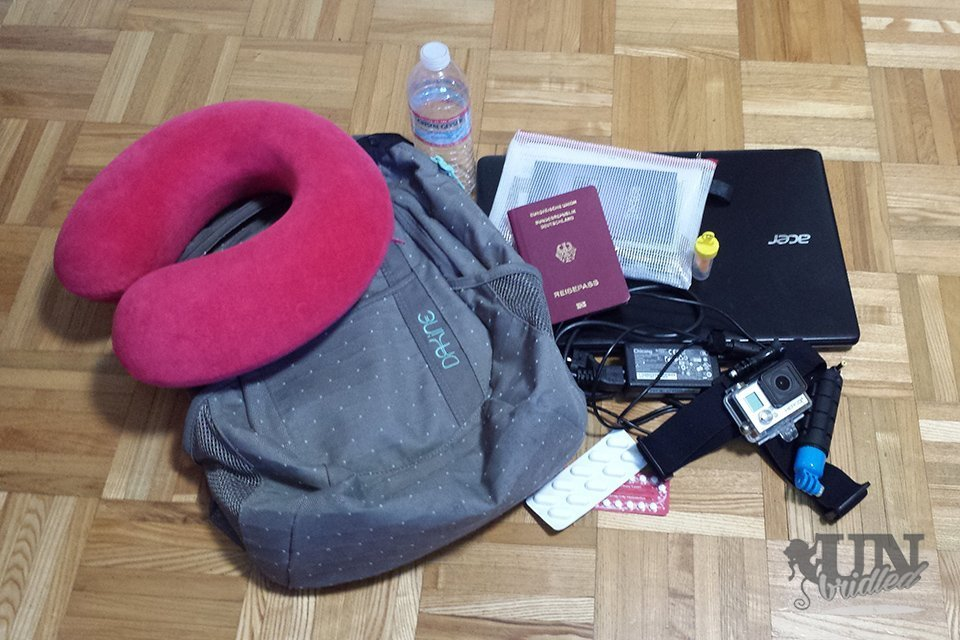 My regular carry-on items are a grey Dakine bagpack, red travel pillow, folder with documents (passport etc.), laptop, charger, GoPro Camera with gear, pain killer and earplugs