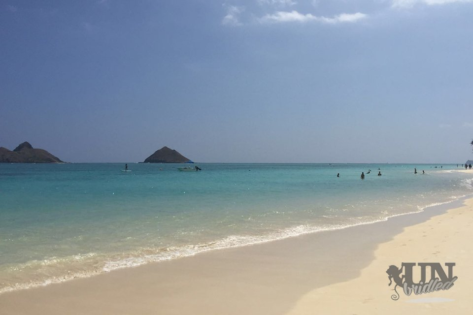 Lanikai beach on Oahu has blue calm water