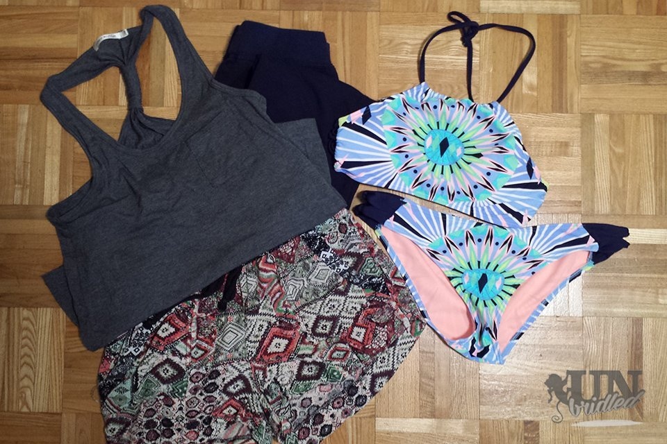 For lost baggage put some extra clothes in the bag pack: shorts, top, swimming wear and for long flights comfortable pants