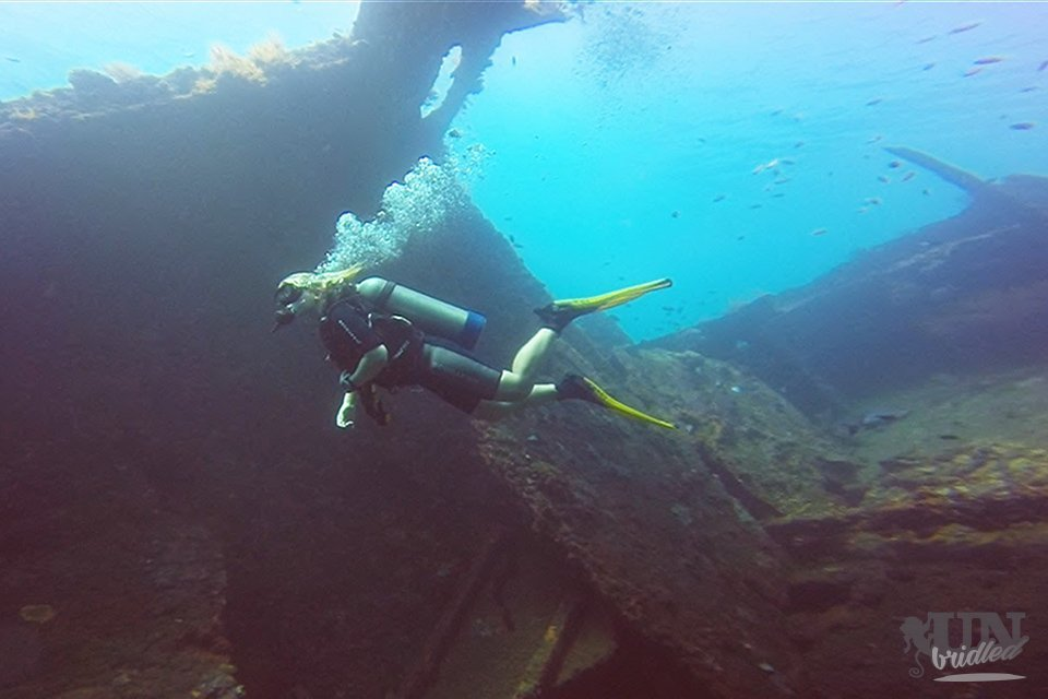 Diving through an old shipwreck: The ship is completely covered in corals and algae. The side and top are open, so I could dive through it.