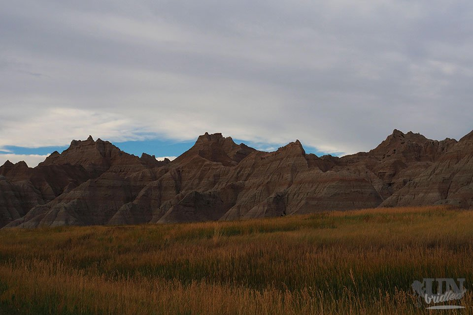 View on the rocks of the Badlands National Park from the campground