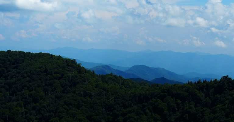 Mountain scene with the farther mountains fading - Great Smoky Mountains National Park