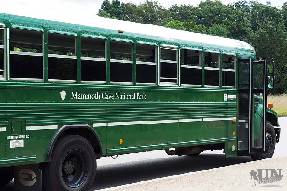 The green bus of the Mammoth Cave National Park