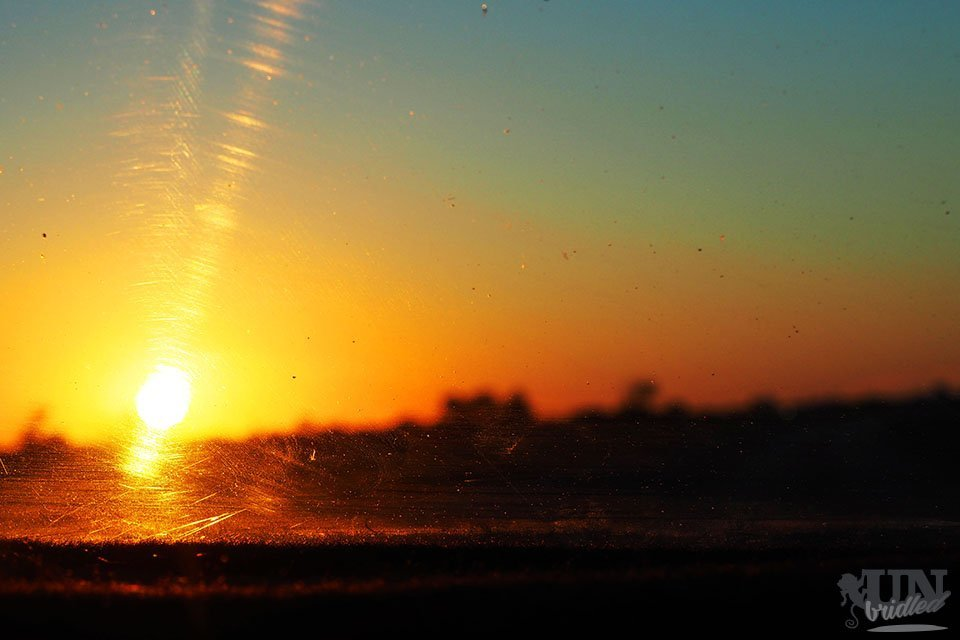 Sunset scene from the inside of a car