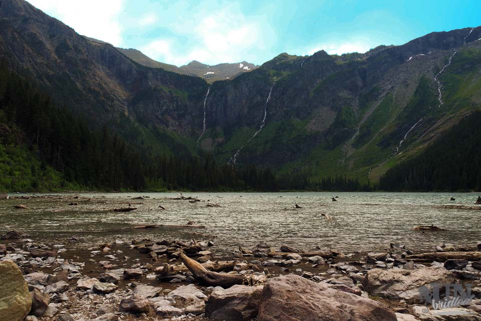 Avalanche lake with waterfalls (Glacier National Park)