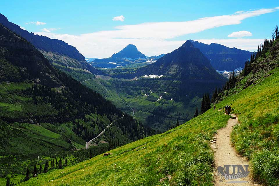 Beautiful mountain scene with a hiking trail at Glacier National Park