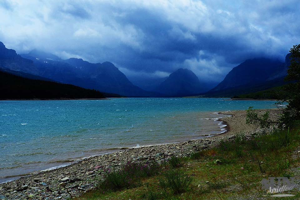 Stormy looking mountains at Glacier National Park