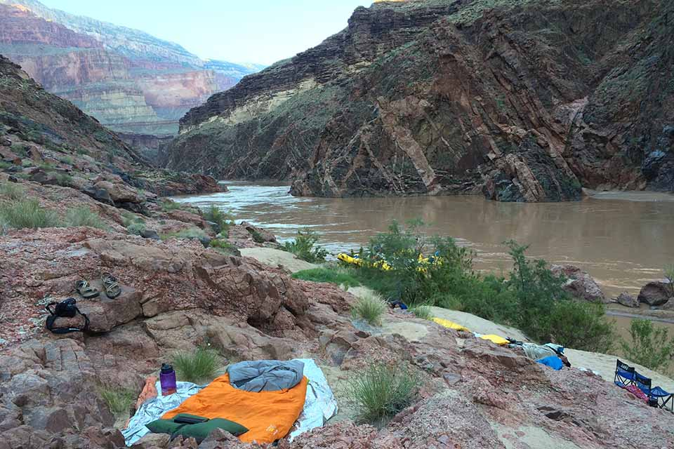 Breathtaking campsite inside the Grand Canyon