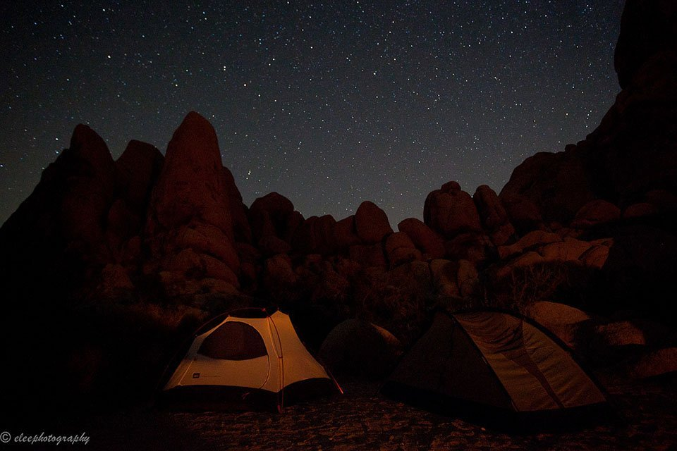 Night sky from one of the most scenic campsites in the U.S. at Joshua Tree National Park