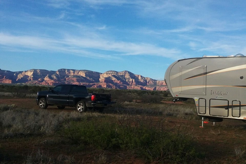 Boondocking campsite in Sedona, Arizona