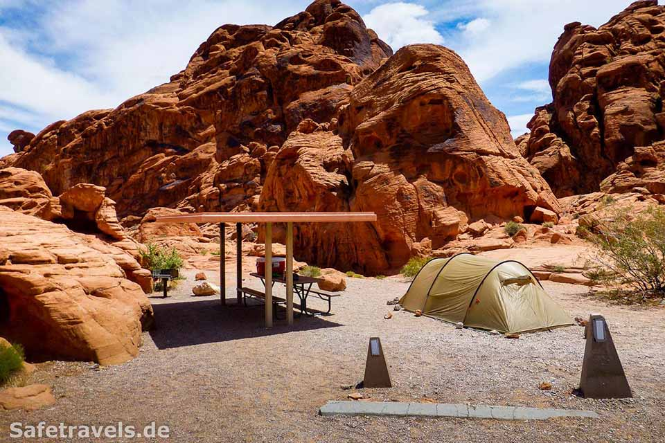 Great view at the Arch Rock Campground in Valley of Fire