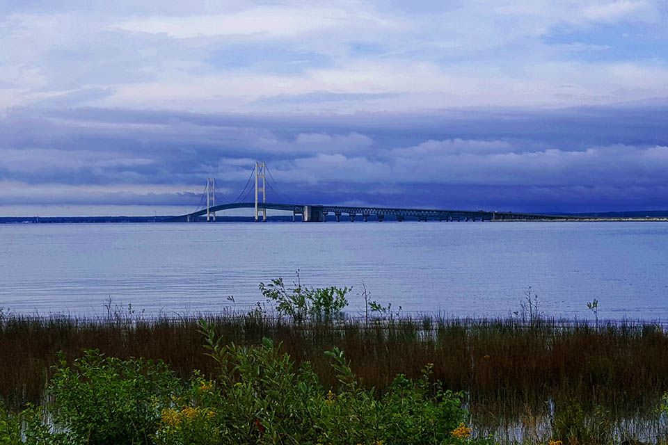 View of the Mackinac Bridge, Strait State Park
