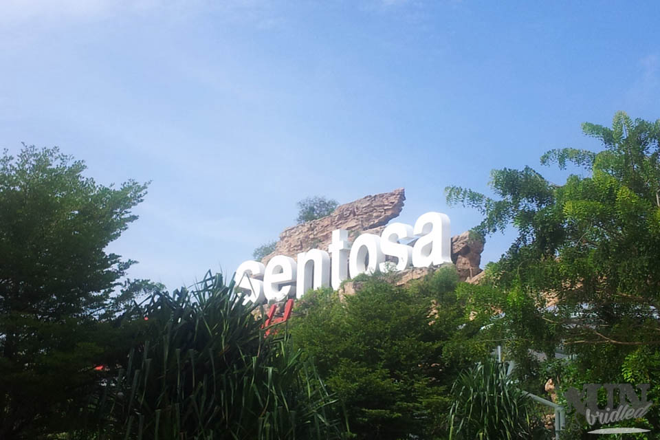 Singapore`s Sentosa sign in white letters with trees around