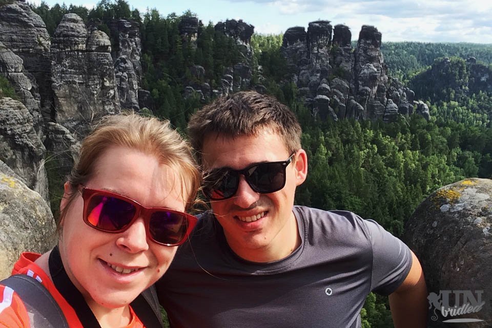 James and me hiking in Germany as full-time travelers