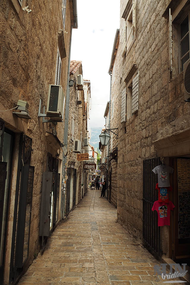 Empty narrow street in Budva's old town (Montenegro)