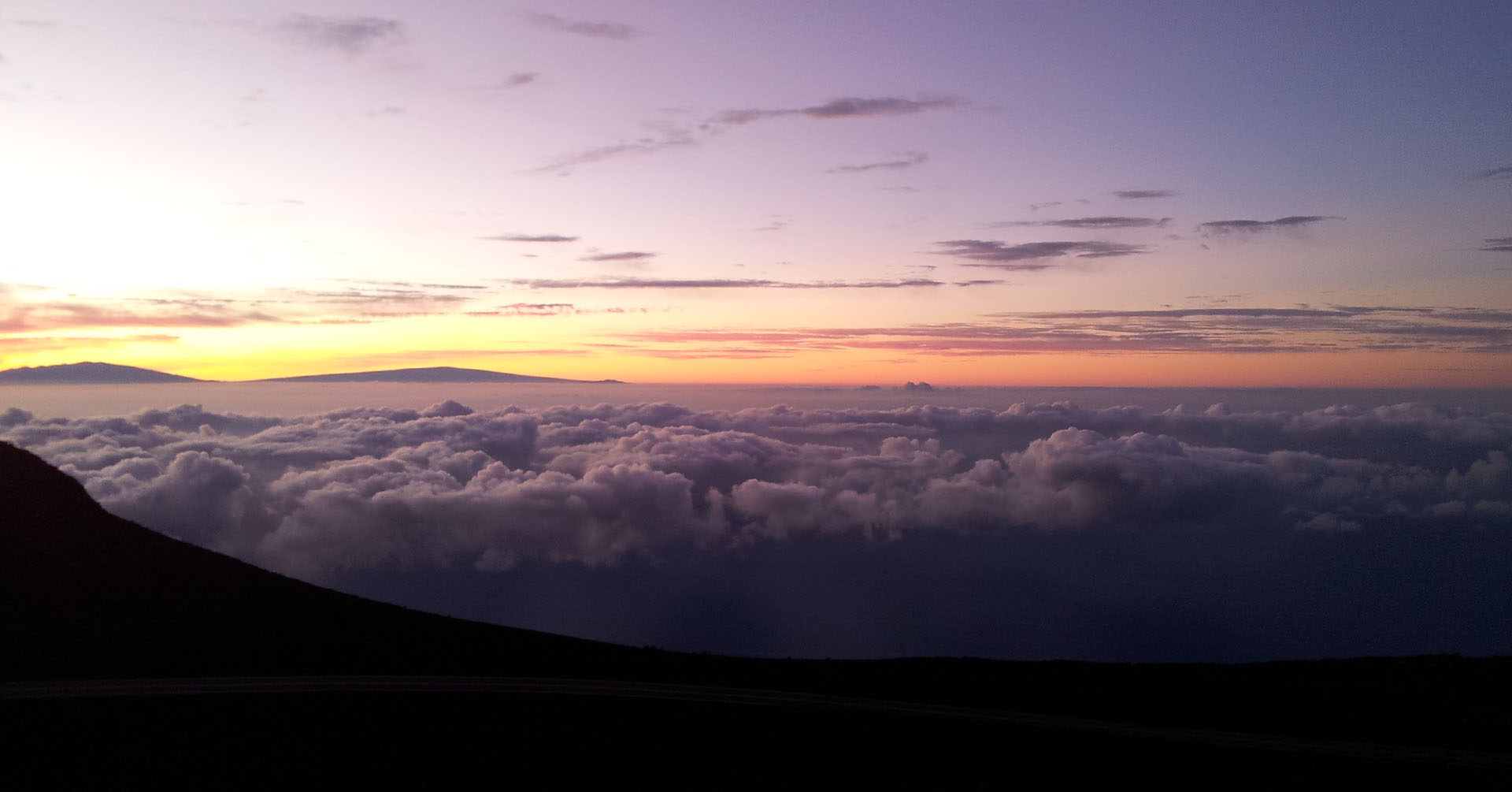 Sunset over the clouds in Hawaii