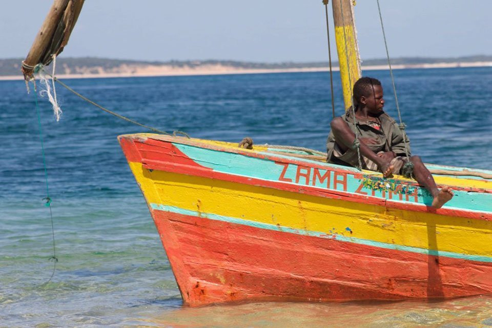 Colorful boat on a beach in Mozambique