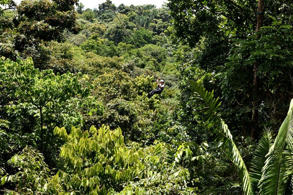 Ziplining through lush green valley in Costa Rica