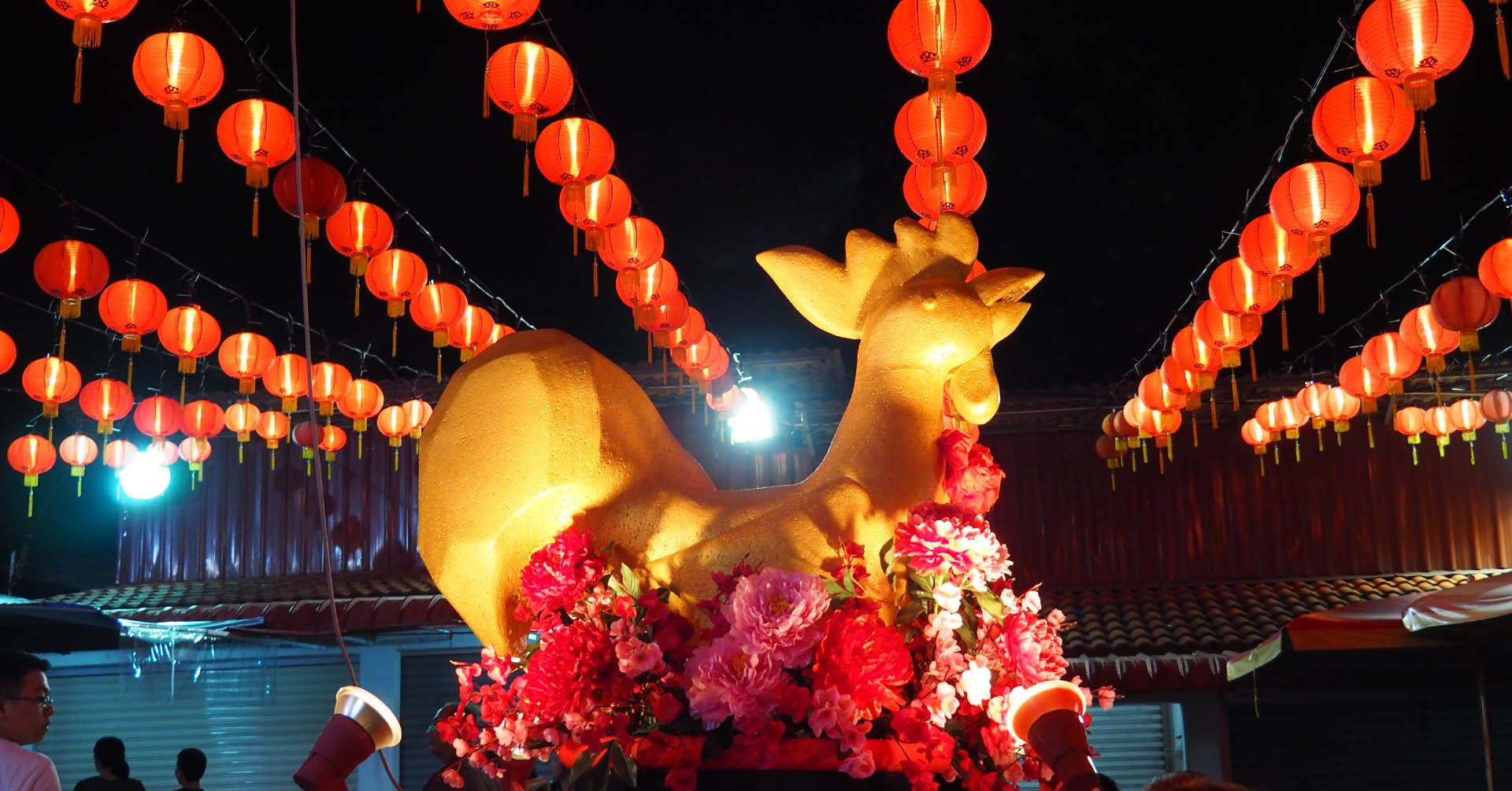 Golden hen with lanterns at Chinese New Year in Penang