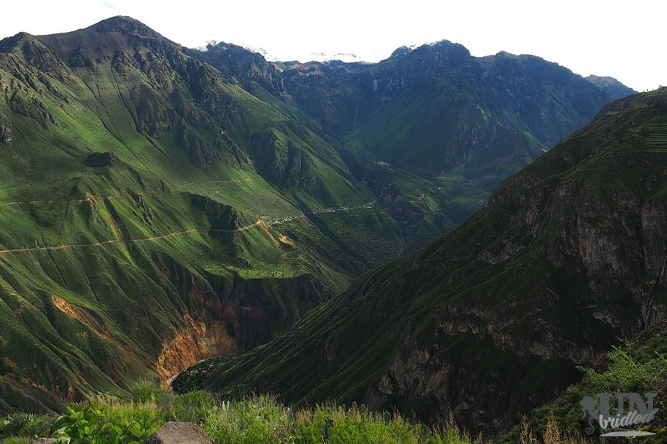 View into Colca Valley with green mountains is worth to Colca Canyon on your own