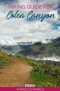 Trail at Colca Canyon in Peru with the text: Hiking Guide for Colca Canyon