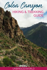 Trail at Colca Canyon in Peru with the text: Colca Canyon - Hiking & Trekking Guide