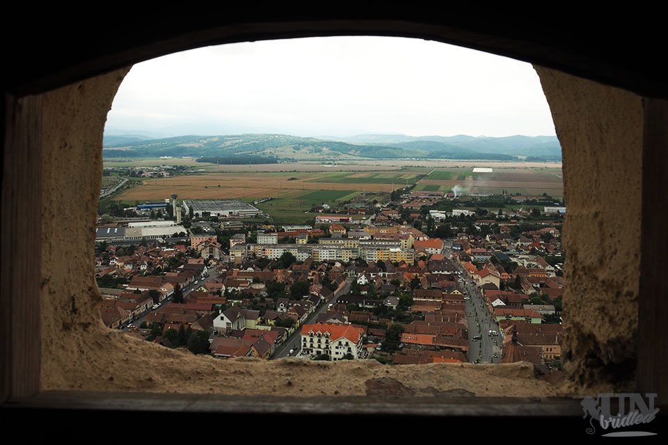 View through a castle window at Rasnov Fortress