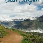 Wanderweg im Colca Canyon in Peru mit dem Text: Wandern im Colca Canyon