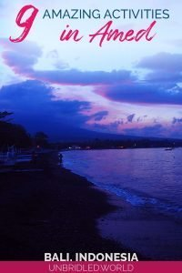 Sunset along a beach in Amed (Bali, Indonesia) with the text - 9 amazing activities in Amed