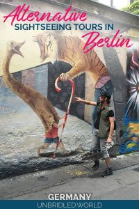 Street art on the Berlin Wall with the text: Alternative sightseeing tours in Berlin