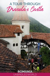 Castle in Transylvania with the text: A through Dracula´s Castle