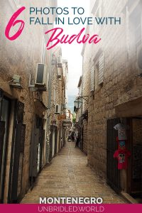 Mediterranean old town with the text: 6 photos to fall in love with Budva