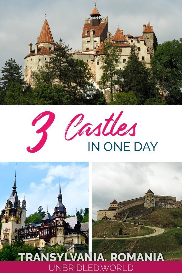 Three Transylvanian castles and the text: 3 Castles in one day