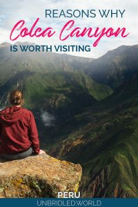 Woman facing a massive canyon and the text: Reasons why Colca Canyon is worth visiting