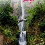 Massive waterfall with a bridge and the text: Columbia River Gorge