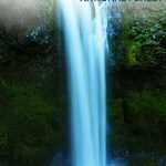 Fantasy-like waterfall with the text: Gifford Pinchot National Forest