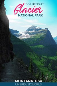Mountain scene with the text: Go hiking at Glacier National Park