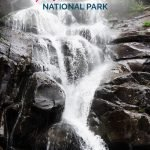 Waterfall with the text: Great Smoky Mountains National Park