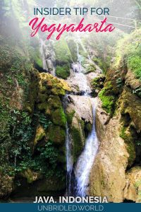 Waterfall with the text: Insider tip for Yogyakarta