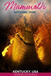 The inside of a cave with the text: Mammoth Cave National Park