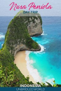 Beach on a coast with turquoise water and the text: Nusa Penida - Day Trip