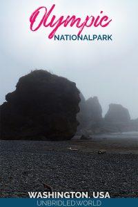 Mystische Küstenlandschaft mit dem Text: Olympic Nationalpark