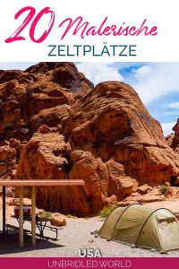 Bräunliches Zelt vor rot-orangenen Felsen mit dem Text: 20 Malerische Zeltplätze, USA