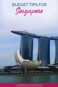 Modern buildings with the text: Budget tips for Singapore