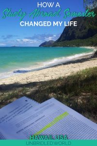 Study book in a tropical beach scenery with the text: How a study abroad semester changed my life
