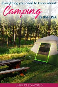 Tent surrounded by trees with the text: Everything you need to know about camping in the USA