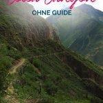 Canyonlandschaft mit Wanderweg und dem Text: Wandern im Colca Canyon ohne Guide